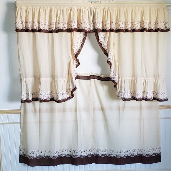 """Vintage Other - Vtg 60s Cafe Curtains 58""""W Tan Brown 4 Pcs Ruffled"""